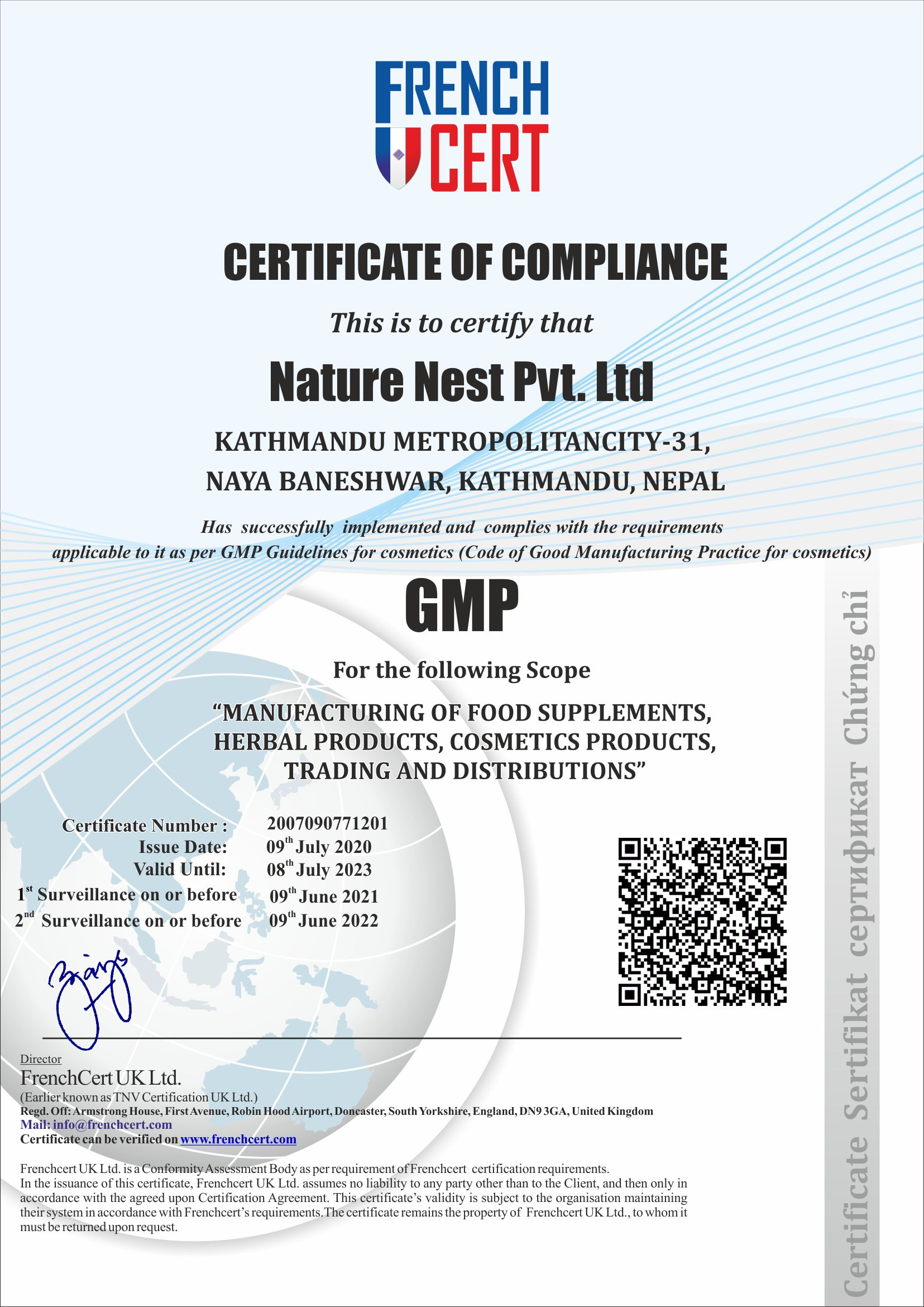 Certificate of Compliance(GMP)